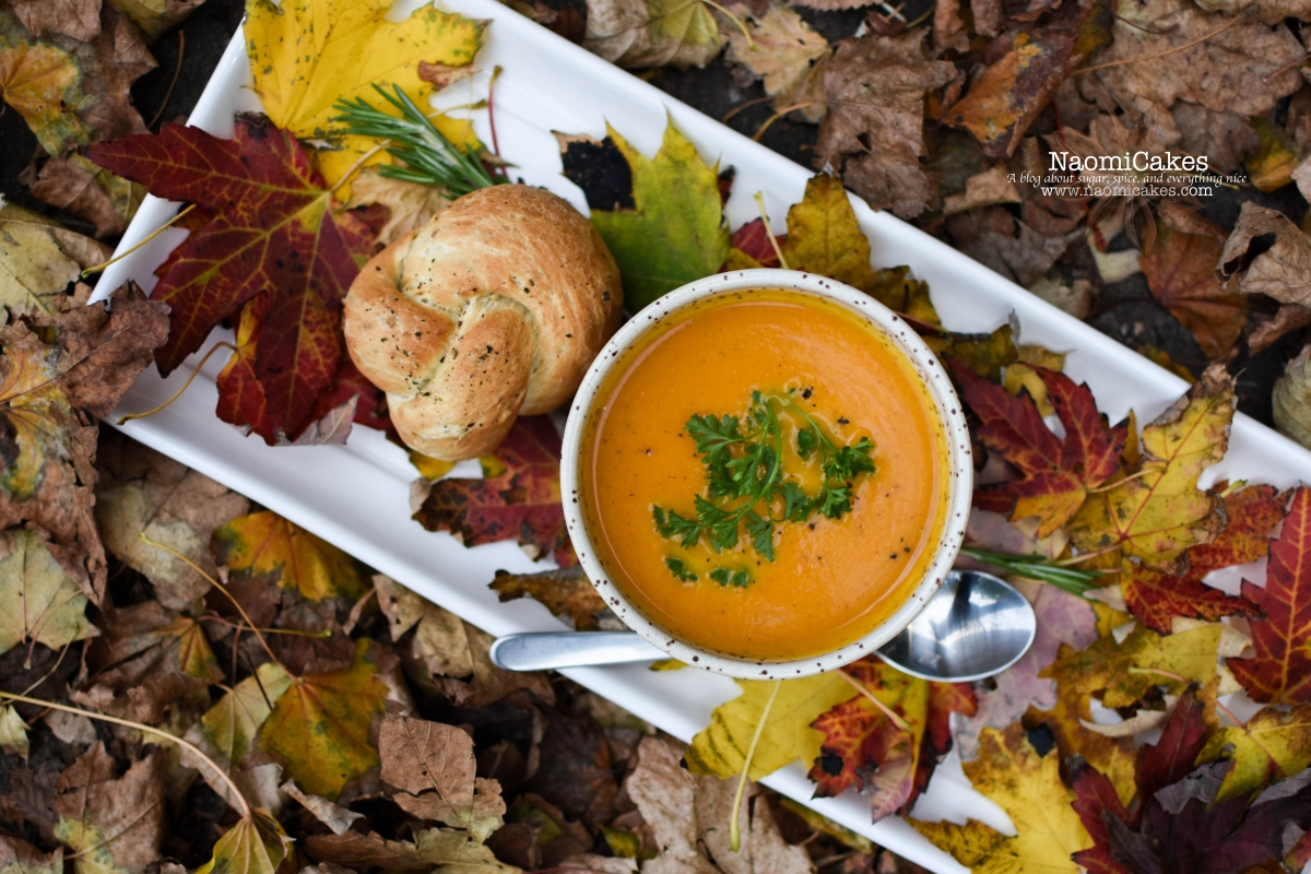 Roasted Pumpkin & Carrot Soup with Rosemary Bacon Rolls [Recipe(s)!]